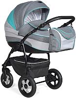 Детская универсальная коляска INDIGO 18 Special 2 в 1 (Sp05, темно-серый/светло-серый/бирюзовая кожа) -