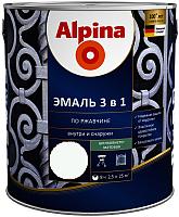 Эмаль Alpina По ржавчине 3 в 1 RAL9003 (2.5л, шелковисто-матовый белый) -