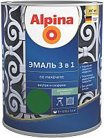 Эмаль Alpina По ржавчине 3 в 1 RAL6002 (750мл, шелковисто-матовый зеленый) -