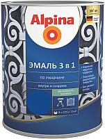 Эмаль Alpina По ржавчине 3 в 1 RAL5005 (750мл, шелковисто-матовый синий) -