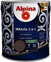 Эмаль Alpina По ржавчине 3 в 1 RAL8017 (2.5л, шелковисто-матовый шоколадный) -