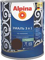 Эмаль Alpina По ржавчине 3 в 1 RAL8017 (750мл, шелковисто-матовый шоколадный) -