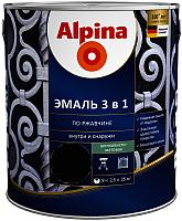 Эмаль Alpina По ржавчине 3 в 1 RAL9005 (2.5л, шелковисто-матовый черный) -