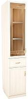 Шкаф-пенал с витриной SV-мебель Вега с ящиком ВМ-02 (сосна карелия) -