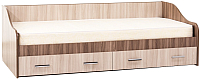 Кровать-тахта SV-мебель Город 90x200 с ящиками (ясень шимо темный/ясень шимо светлый) -