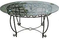 Обеденный стол Грифонсервис КОВ1 (черный в золоте/стекло) -