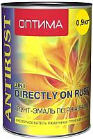 Эмаль Оптима 3 в 1 по ржавчине (900г, желтый) -