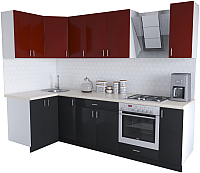Готовая кухня Хоум Лайн Кристалл Люкс 1.2x2.7 (черный/бургунский) -