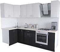 Готовая кухня Хоум Лайн Кристалл Люкс 1.2x2.7 (черный/белый) -