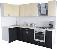 Готовая кухня Хоум Лайн Кристалл Люкс 1.2x2.7 (черный/ваниль) -