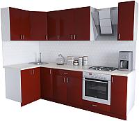 Готовая кухня Хоум Лайн Кристалл Люкс 1.2x2.7 (бургунский) -