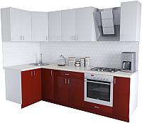 Готовая кухня Хоум Лайн Кристалл Люкс 1.2x2.7 (бургунский/белый) -