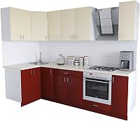 Готовая кухня Хоум Лайн Кристалл Люкс 1.2x2.7 (бургунский/ваниль) -