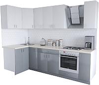 Готовая кухня Хоум Лайн Кристалл Люкс 1.2x2.7 (серый пыльный/белый) -