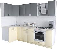 Готовая кухня Хоум Лайн Кристалл Люкс 1.2x2.7 (ваниль/серый пыльный) -