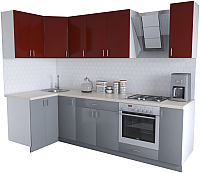 Готовая кухня Хоум Лайн Кристалл Люкс 1.2x2.7 (серый пыльный/бургунский) -