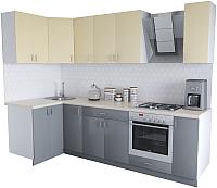 Готовая кухня Хоум Лайн Кристалл Люкс 1.2x2.7 (серый пыльный/ваниль) -