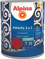 Эмаль Alpina По ржавчине 3 в 1 RAL 7040 (750мл, шелковисто-матовый серый) -