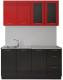 Готовая кухня Артём-Мебель Оля СН-114 МДФ 1.4 со стеклом (глянец красно-черный) -