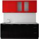 Готовая кухня Артём-Мебель Оля СН-114 МДФ 1.6/3 со стеклом (глянец красно-черный) -