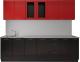 Готовая кухня Артём-Мебель Оля СН-114 МДФ 2.6 со стеклом (глянец красный/черный) -