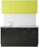 Готовая кухня Артём-Мебель Лана без стекла ДСП 1.4м (лайм/черный) -