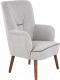 Кресло мягкое Halmar Bishop (светло-серый/орех) -