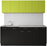 Готовая кухня Артём-Мебель Лана без стекла ДСП 2.0м (лайм/черный) -