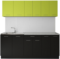 Готовая кухня Артём-Мебель Лана без стекла ДСП 2.2м (лайм/черный) -
