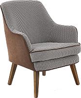 Кресло мягкое Halmar Telaviv (черно-белый/коричневый/орех) -