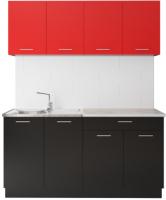 Готовая кухня Артём-Мебель Лана без стекла ДСП 1.4м (красный/черный) -