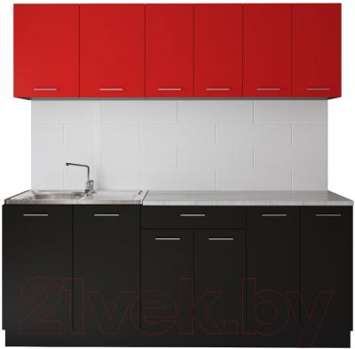 Готовая кухня Артём-Мебель Лана без стекла ДСП 1.8м (красный/черный)