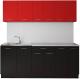 Готовая кухня Артём-Мебель Лана без стекла ДСП 2.2м (красный/черный) -