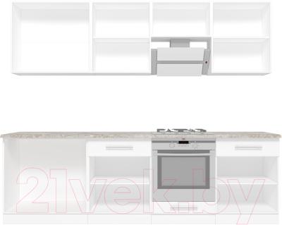 Готовая кухня Кастанье Марта 2.6 (красный китайский глянец/черный глянец)