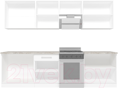 Готовая кухня Кастанье Марта 2.8 (белый глянец/трюфель коричневый)