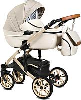 Детская универсальная коляска Alis Camaro F 3 в 1 (Cm 01, бежевый узор/светло-бежевая кожа) -