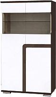 Шкаф с витриной SV-мебель Гостиная Нота 25 Ж зеркальная малая (дуб венге/жемчуг) -