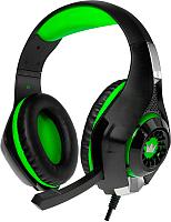 Наушники-гарнитура Crown CMGH-102T (черный/зеленый) -