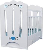 Детская кроватка VDK Little Heart маятник-ящик (белый) -