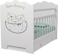 Детская кроватка VDK Love Sleeping маятник-ящик (белый) -