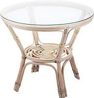 Стол садовый Мир Ротанга Багама 01/17А со стеклом (белый) -