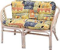 Диван садовый Мир Ротанга Багама 2-х местная 01/17С с подушкой (белый) -