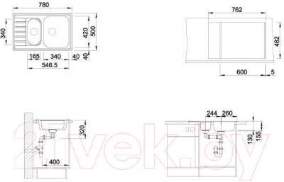 Мойка кухонная Blanco Livit 6 S Compact / 515117 - габаритные размеры