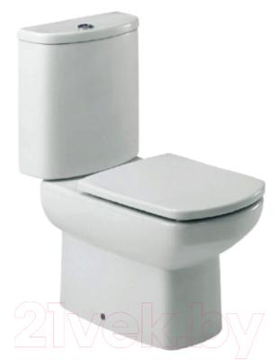 Фото - Унитаз напольный Roca Dama Senso Compacto 734151B000 + 7342518000 + ZRU9302820 крышка сиденье для унитаза roca dama senso zru9302820 дюропласт с микролифтом белый