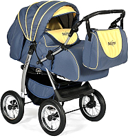 Детская универсальная коляска INDIGO Maximo (Ma 09, темно-графитовый/желтый) -