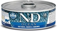 Корм для кошек Farmina N&D Grain Free Ocean Sea Bass, Squid & Shrimp (80г) -