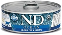 Корм для кошек Farmina N&D Grain Free Ocean Salmon, Cod & Shrimp (80г) -