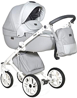 Детская универсальная коляска INDIGO Porto 2 в 1 (Po 02, светло-серая кожа/светло-серый лен) -