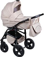 Детская универсальная коляска Smile Line Platinum 18 2 в 1 (Pl 20, светло-бежевый лен/коричневый) -