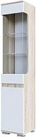Шкаф-пенал с витриной SV-мебель Гостиная Нота 25 (дуб сонома/белый глянец) -